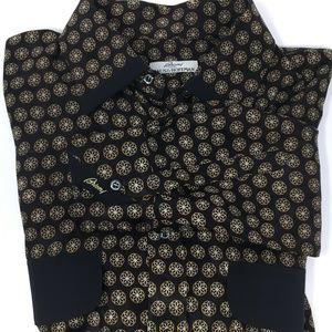 Brioni black silk shirt floral pattern sz Large